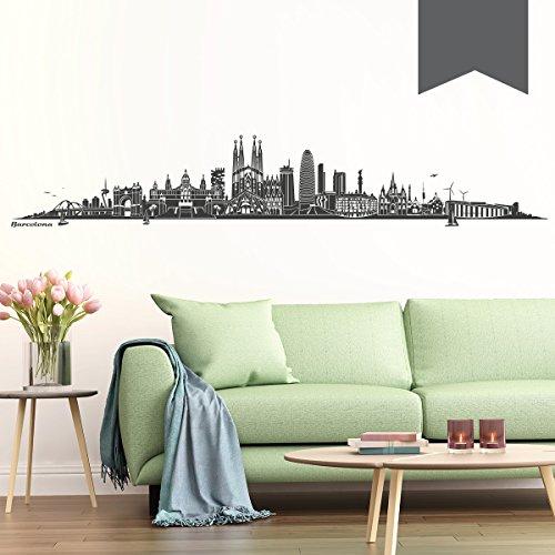 WANDKINGS Wandtattoo - Skyline Barcelona - 140 x 24 cm - Dunkelgrau - Wähle aus 6 Größen & 35 Farben