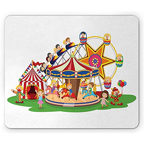 Zirkus-Mausunterlage,Kindische Grafik des Karikatur-Vergnügungspark-Zelt-Clown-Kinderriesenrads,Rutschfestes Gummimousepad des Rechtecks