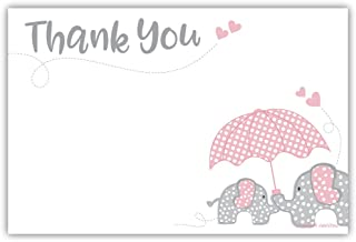 Elephant Girl Baby Shower Thank You Note Cards (20 Count)
