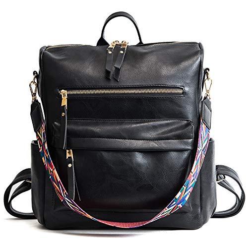 Yi-xir fashion design retrò in pelle zaino zaino borse spalla donna borsa da viaggio moda per distaff leggero e durevole (colore : nero, dimensioni: 30 * 32 * 14 cm)