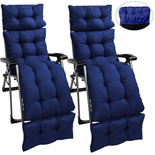 Sun Lounger Cushions Pad Replacement with Non Slip Top Cover and 6 Lines 4 Fold Thick Patio Recliner Relaxer Chair Seat Padded for Travel Holiday 180 * 55 * 10CM (No Chair) (Dark Blue, 2PCS)