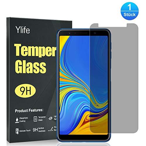 Ylife Panzerglas Schutzfolie Kompatibel Samsung Galaxy A7 2018, Anti-Spy 9H Festigkeitgrad HD Transparenz Panzerglasfolie, Keine Luftblasen, Anti-Kratzer Bildschirmschutzfolie, 0.33MM Ultra Dünner Glas Folie