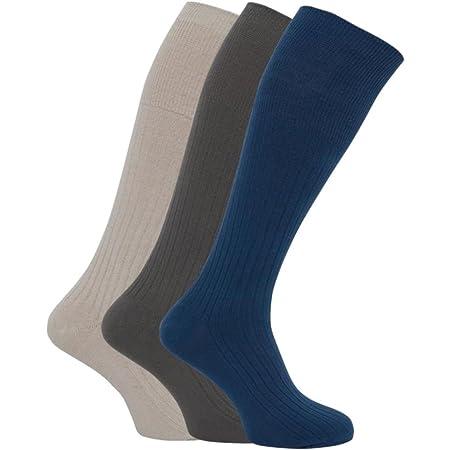 3 Pairs Mens Ribbed Long Hose 100% Cotton Soft Top Socks/UK 6-11