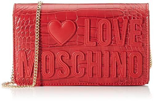 Love Moschino Croco PU, Borsa da Donna, Rosso, Normale