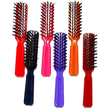 Luxxii  Pack 6  7.5  Plastic Colorful Handle Nylon Bristles Brushes Hair Comb Designed for All Hair Types  Assort Color