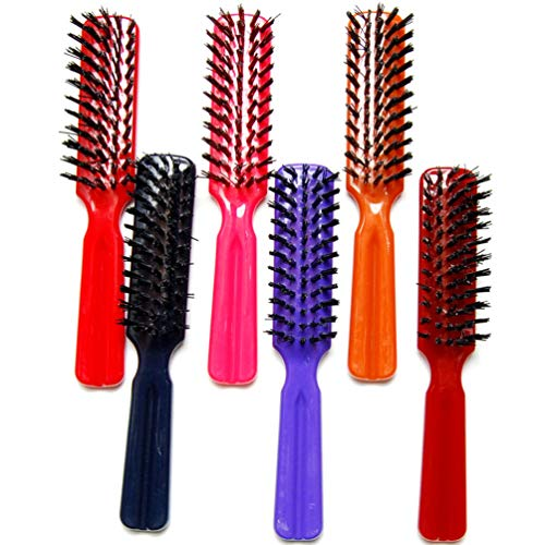 """Luxxii (Pack 6) 7.5"""" Plastic Colorful Handle Nylon Bristles Brushes Hair Comb Designed for All Hair Types (Assort Color)"""