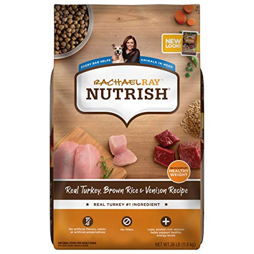 Rachael Ray Nutrish Dry Dog Food, Turkey, Brown Rice & Venison Recipe for Weight Management, 26 Pounds (Packaging May Vary)