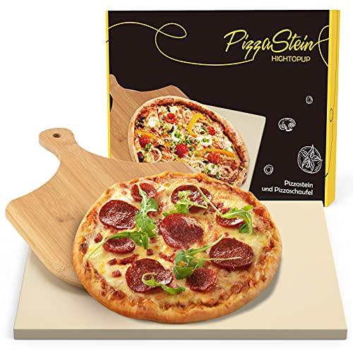 Hightopup Pizzastein für Backofen, Grill & Gasgrill | Pizzastein Set aus Cordierit, 38 x 30 cm rechteckiger Pizzastein mit Holz Pizzaschieber, optimal als Brotbackstein geeignet