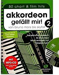 Accordéon gefällt mir Volume 2 avec CD - de Bruno Mars à Skyfall - Le livre ultime pour l\'accordéon, légèrement arrangé - Avec pince à partitions colorée en forme de cœur