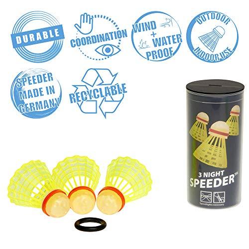 Speedminton NIGHT Speeder - 3er Pack leuchtende Speed Badminton/Crossminton Bälle inkl. Windring, Gelb/Rot