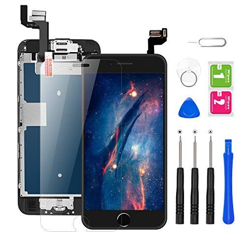 BuTure Für iPhone 6S Display Schwarz Ersatz LCD Touchscreen Digitizer Vormontiert mit Home Button, Hörmuschel, Frontkamera Ersatz Bildschirm Glas und Reparaturset Komplettes Kostenlose Werkzeug