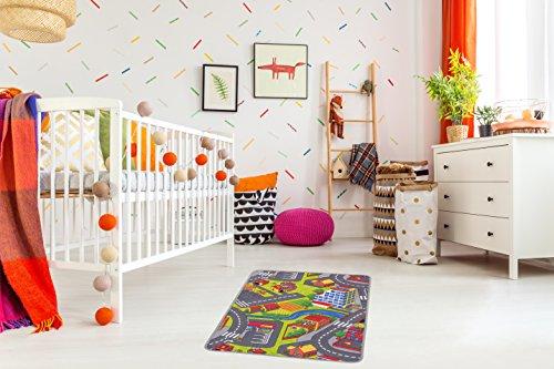 Misento 293300 Tapis de Jeu pour Enfant Motif Rues 80 x 120 cm
