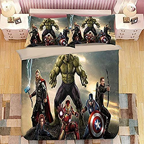 BLSM Marvel Avengers Bettbezug-Set, 3D-Digitaldruck, Bettwäsche-Set, Captain America, Hulk und Thor Iron Man Bettbezug mit passendem Kissenbezug, für Kinder und Erwachsene (10, 135 x 200)