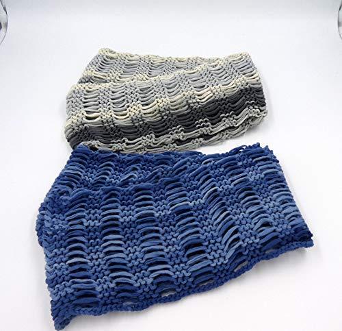 Handgestrickter Loop aus Baumwolle, Blau oder Grau, luftig und leicht