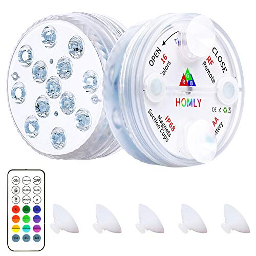 Homly Above Ground Pool Lighting Remote Control RF, Large Pool Led Light for Pool Underwater, Magnetic Pool Lights with Big Suction Cups,Inground Waterproof Led Shower Lights Hot Tub Lights (2 Packs)