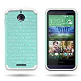 HTC Desire 510 Case, by CoverON Armor Bling Hybrid Gel Protector Diamond Cover - Teal Hard White Soft Silicone