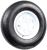 Radial Trailer Tire On White Rim ST235/80R16 Load E 6 Lug On 5.5 Spoke Wheel