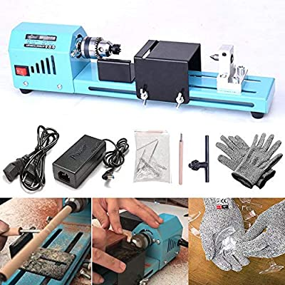 FOONEE DIY Portable Woodworking Mini Lathe Drill & HPPE 5 Level Cut Resistant Gloves, 7000RPM 12-24V DC Mini Lathe Beads Machine Woodworking DIY Lathe Standard Set for Table Woodworking