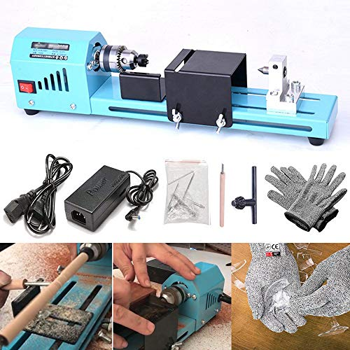 Cheapest Price! FOONEE DIY Portable Woodworking Mini Lathe Drill & HPPE 5 Level Cut Resistant Gloves...