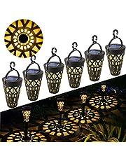 Lámpara Solare para Jardín GolWof 6 Piezas Luz Solar Exterior Impermeable Luces Solar Exterior Luces Exterior Iluminación Decorativa para Terraza Césped Patio Festival Navidad - Luz Blanca Cálida
