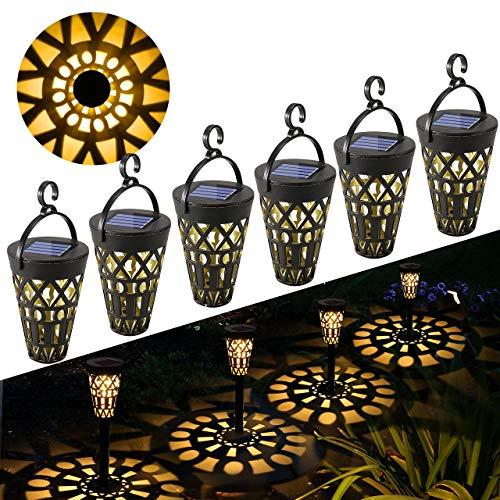 Lampada Solare Giardino Esterno GolWof 6 Pezzi Lampade Solari Impermeabile Luci Solari Esterno Appendibile Lampade da Giardino Illuminazione Solare Decorative per Villa Prato Feste Parchi Natale