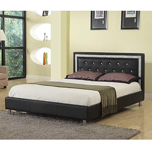 Best Master Furniture Bria Faux Leather Platform Bed, Cal. King, Black