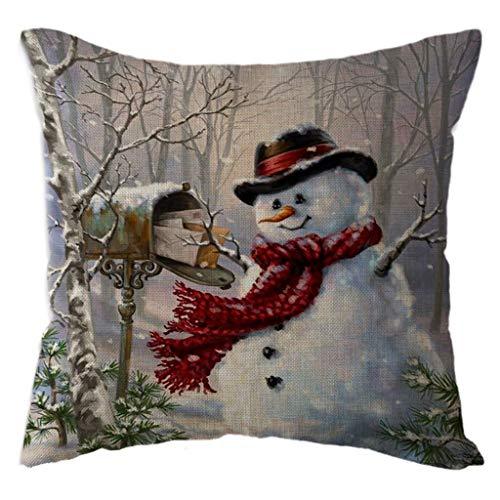 Kapian Weihnacht Kissenbezüge für Sofa & Bett Heimdeko Design, Schneemann Muster 18'x 18'