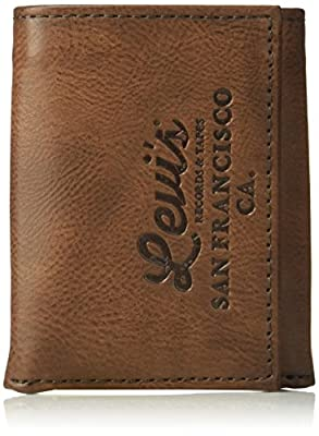 Levi's Men's Genuine Leather Trifold - Big Skinny Wallet with RFID Security for Credit Cards with 2 ID Windows,Brown