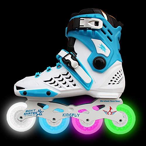 AYES Rollschuhe, mit Beleuchtung, Inline-Skates mit rutschfesten Rädern, für Innen- und Außenbereich, Unisex, weiß, 48