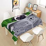 Morbuy Manteles Mesa 3D Doguillo Animal Impresión Mantela, Rectangular Impermeable Antimanchas Lavable Poliéster Manteles para Cocina o Salón Comedor Decoración del Hogar (Perro Verde,140x180cm)