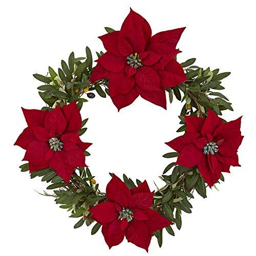 Nahezu natürlich, 53,3 cm. Künstliche Olivenkranz mit Weihnachtsstern, Rot