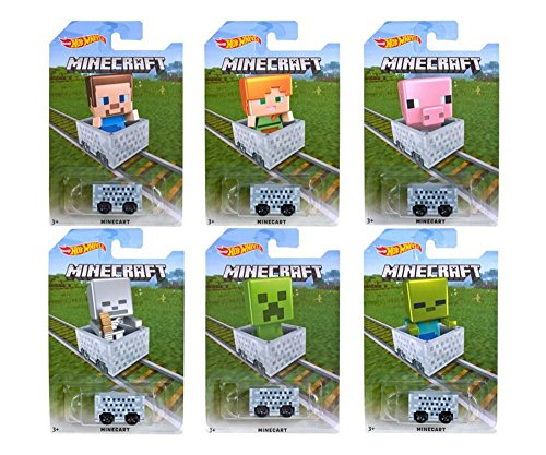 Hot Wheels 1:64 Minecraft Minecart (Assorted Character Cards) 6PCS