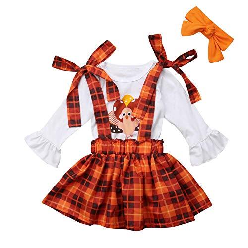 3Pcs Toddler Baby Girls Thanksgiving Outfits T-Shirt Top Suspender Skirt Headband Set White, Orange