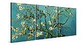 Cuadros Almendro en Flor de Vincent van Gogh - 3 Piezas de 50 x 70 cm (150 x 70 cm) - Decoración Moderna para Salón y Dormitorio, Lienzo de Poliéster y Bastidor de Madera, Multicolor, LEN-140