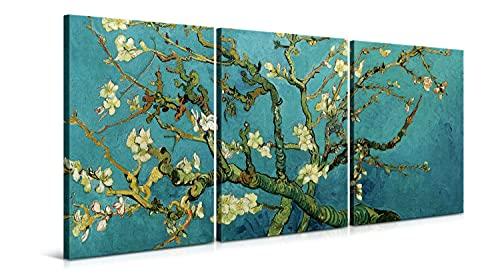 Cuadros Almendro en Flor de Vincent van Gogh - 3 Piezas de 40 x 60 cm (120 x 60 cm) - Decoración Moderna para Salón y Dormitorio, Lienzo de Poliéster y Bastidor de Madera, Multicolor, LEN-140