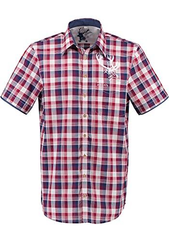 OS Trachten Herren Hemd Trachtenhemd Kurzarm mit Liegekragen Rotul, Größe:43/44, Farbe:mittelrot