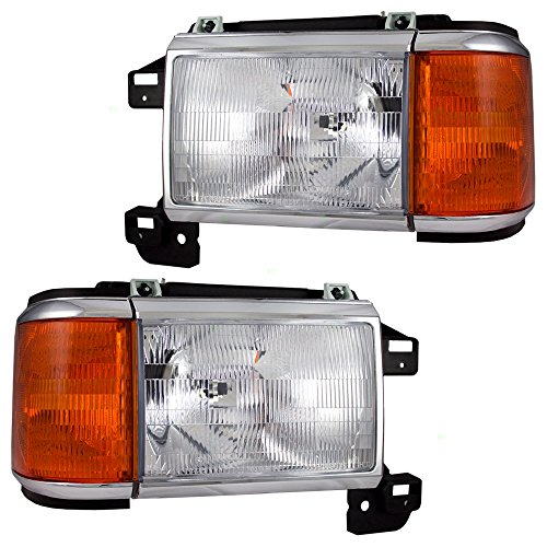 Headlights with Park Lamp & Chrome Trim Driver and Passenger Replacement for Ford Pickup Truck Bronco SUV E9TZ13008F E9TZ13008E