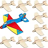 8 Packs Wooden Model Airplane Wood Planes DIY Balsa Wood Airplane Kits Handicraft Toy Plane for Birthday Carnival Party