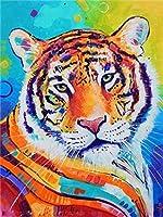 ジグソーパズル大人のための動物の虎のカラフルなパズルアートワーク1000個-カラフルな教育とレジャーのおもちゃ