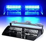 Xprite Blue 16 LED High Intensity Emergency Hazard Warning Strobe Lights w/Suction Cups for Police Volunteer Firefighter Law Enforcement Vehicles Truck Interior Roof Windshield Dash Deck Flash Light