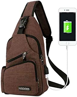 Peicees Small Travel Gym Bike Sling Bag, Laptop iPad Mini Sling Chest Cross Body Backpack, Water Resistant One Shoulder ED...