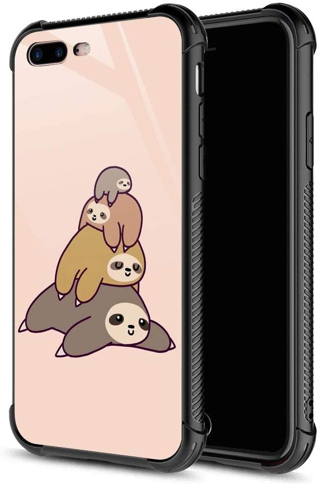CARLOCA iPhone 8 Plus Case,Sloth Stack iPhone 7 Plus Cases for Girls Boys,Graphic Design Shockproof Anti-Scratch Drop Protection Case for Apple iPhone 7/8 Plus