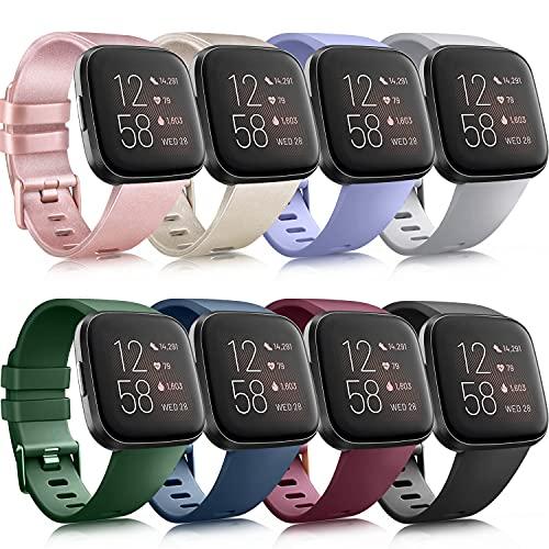 AMK 8 pulseras compatibles con Fitbit Versa 2 / Fitbit Versa, correa de repuesto de silicona suave para Fitbit Versa/Versa 2/Versa Lite (8 unidades, A, S)