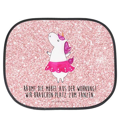 Mr. & Mrs. Panda Familie, Geschenk, Auto Sonnenschutz Einhorn Ballerina mit Spruch - Farbe Glitzer Rosa