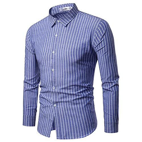 SSBZYES Camisas para Hombres Camisas de Manga Larga Camisas a Rayas para Hombres Tops Casuales para Hombres Camisas a Rayas Negras