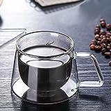 zaizai Vasos de Doble Pared con Cuchara, Taza de café de Vidrio de Doble Pared con Aislamiento Fuerte Taza de té Transparente Bebida de borosilicato térmico, 200 ml / 7 oz