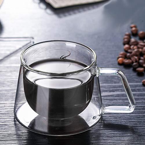 zaizai dubbele ommuurde bril met lepel, sterk geïsoleerde dubbele ommuurde glazen koffiebeker heldere theekop thermisch borosilicaat drank, 200 ml / 7 oz