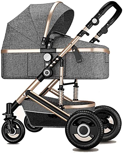 Sistema de viaje Cochecito de bebé, cochecito de cuna reversible para bebés y niños pequeños, colchón de aleación de aluminio plegable con respaldo ajustable, suspensión 3D (Color : Gray 1)