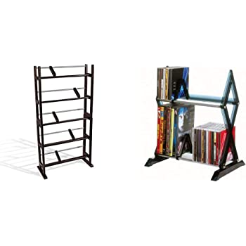 Atlantic Element Media Storage Rack - Holds Up to 230 Cds or 150 DVDs, PN35535601 in Espresso & Mitsu 2-Tier Media Rack - 52 CDs or 36 DVD/BluRay/Games in Clear Smoke Finish, PN64835193