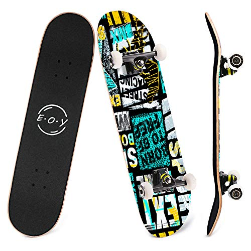 EOYIZW Skateboards Skateboard 31 Inch 8 Layer Canadian Maple Skateboard Deck Double Kick Tricks Skate Board Standard Skateboards for Teens Kids Skateboards Beginners